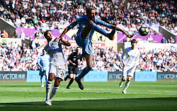 Peter Crouch of Stoke City stretches for the ball. - Mandatory by-line: Alex James/JMP - 22/04/2017 - FOOTBALL - Liberty Stadium - Swansea, England - Swansea City v Stoke City - Premier League