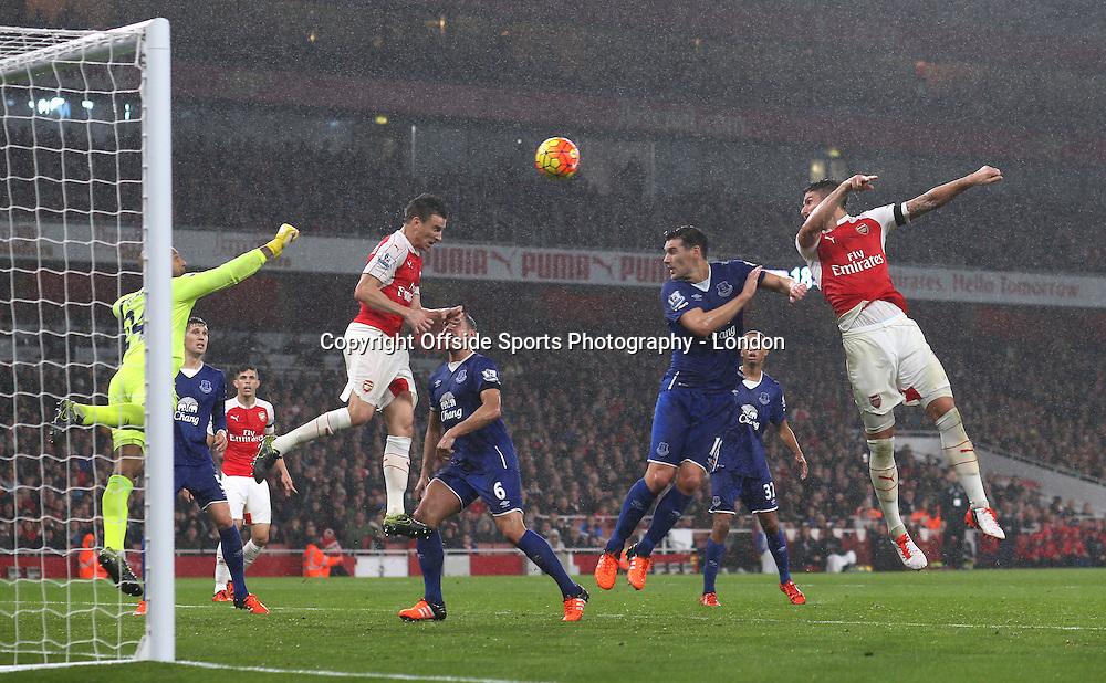 24 October 2015 Premier League Football - Arsenal v Everton : Laurent Koscielny about to head Arsenal's second goal.<br /> <br /> Photo: Mark Leech