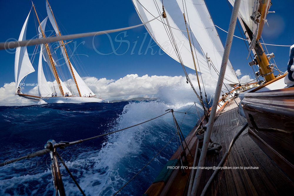 Ticonderoga and Eleonora sailing the Cannon Race at the Antigua Classic Yacht Regatta.