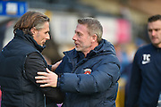 Wycombe Wanderers manager, Gareth Ainsworth and Hartlepool United manager, Craig Hignett during the EFL Sky Bet League 2 match between Wycombe Wanderers and Hartlepool United at Adams Park, High Wycombe, England on 26 November 2016. Photo by Adam Rivers.