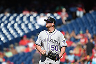 June 14, 2018 - Philadelphia, PA, U.S. - PHILADELPHIA, PA - JUNE 14: Colorado Rockies Pitcher Brooks Pounders (50) looks on during the MLB baseball game between the Philadelphia Phillies and the Colorado Rockies on June 14, 2018 at Citizens Bank Park in Philadelphia, PA. The Phillies won 9-3. (Photo by Andy Lewis/Icon Sportswire) (Credit Image: © Andy Lewis/Icon SMI via ZUMA Press)