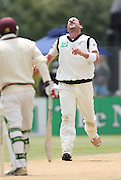 Mark Gillespie shows his frustration on day 4 after Ross Taylor drops a chance in the slips.<br />New Zealand v West Indies, First Test Match, National Bank Test Series, University Oval, Dunedin, Sunday 14 December 2008. Photo: Andrew Cornaga/PHOTOSPORT