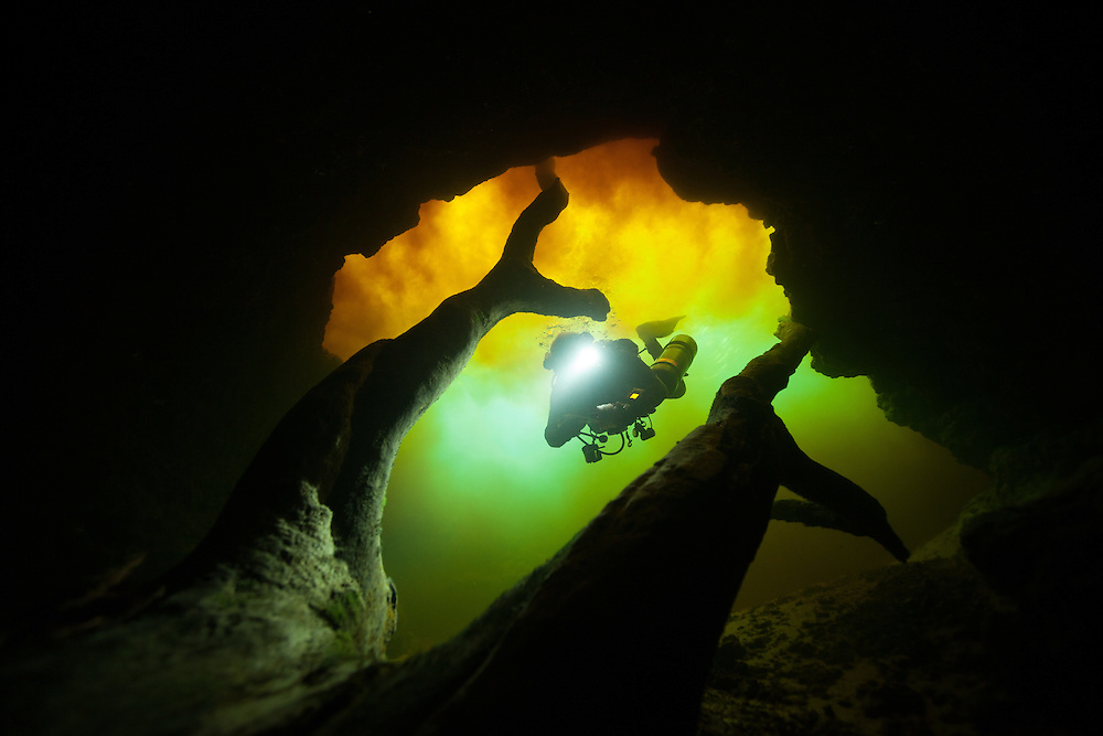 Un plongeur entre dans la caverne de Little River en Floride, États-Unis. |  Cave diver entering Little River cave system in Florida, USA