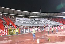 Supporters of Crvena Zvezda during football match between NK Crvena Zvezda Beograd and Arsenal FC in Group H of UEFA Europa League 2017/18, on October 19, 2017 in Stadion Rajko Mitic, Belgrade, Serbia. Photo by Marko Metlas / Sportida