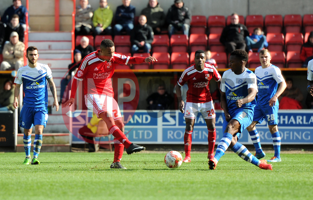 Swindon Town's Jermaine Hylton scores against Peterborough United - Photo mandatory by-line: Paul Knight/JMP - Mobile: 07966 386802 - 11/04/2015 - SPORT - Football - Swindon - The County Ground - Swindon Town v Peterborough United - Sky Bet League One