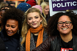 © Licensed to London News Pictures. 08/03/2020. LONDON, UK. Emile Sandé (L), singer, and Natalie Dormer (C), actress, join thousands of people in the annual March 4 Women on International Women's Day. The event this year celebrates the power and passion of women and girls who are on the frontline of responding to climate change.  The walk through central London from Whitehall Place ends with a rally in Parliament Square.  Photo credit: Stephen Chung/LNP
