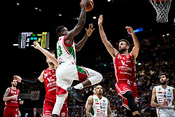 April 29, 2018 - Milan, Milan, Italy - Awudu Abass (#23 EA7 Emporio Armani Milano) shoots a layup during a basketball game of Poste Mobile Lega Basket A between  EA7 Emporio Armani Milano vs VL Pesaro at Mediolanum Forum, in Milan, Italy, on April 29, 2018. (Credit Image: © Roberto Finizio/NurPhoto via ZUMA Press)