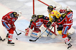 08.09.2013, Albert Schultz Eishalle, Wien, AUT, EBEL, UPC Vienna Capitals vs EC KAC, 1. Runde, im Bild Florian Iberer, (EC KAC, #48), Rene Swette, (EC KAC, #30), Mike Ouellette, (UPC Vienna Capitals, #28) und Maximilian Isopp, (EC KAC, #81) // during the Erste Bank Icehockey League 1st Round match between UPC Vienna Capitals and EC KAC at the Albert Schultz Ice Arena, Vienna, Austria on 2013/09/08. EXPA Pictures © 2013, PhotoCredit: EXPA/ Thomas Haumer