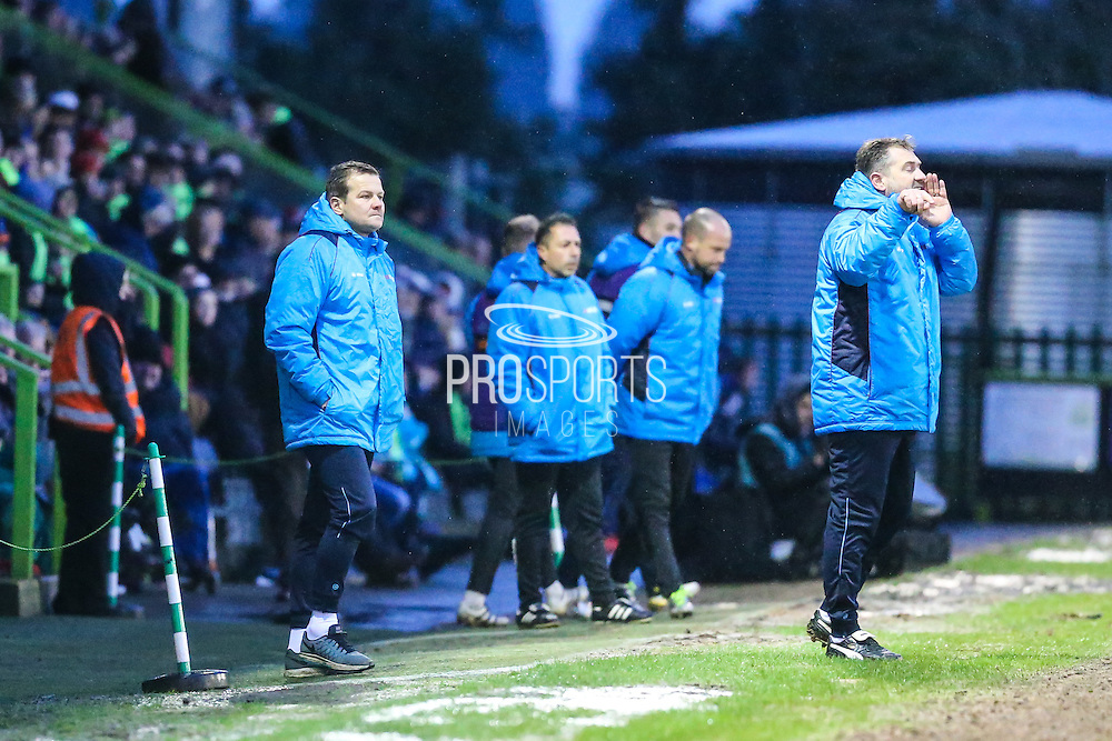Forest Green Rovers assistant manager, Scott Lindsey issues instruction whilst Forest Green Rovers manager, Mark Cooper looks on during the Vanarama National League match between Forest Green Rovers and Torquay United at the New Lawn, Forest Green, United Kingdom on 1 January 2017. Photo by Shane Healey.