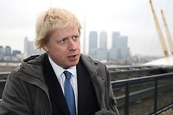 © Licensed to London News Pictures. 18/01/2012. London, UK. Mayor of London, Boris Johnson and Communities Secretary, Eric Pickles visit Greenwich Peninsula scheme, where they announce the next phase of the development and the creation of thousands of new jobs and homes. Photo credit: Brian Duckett/LNP