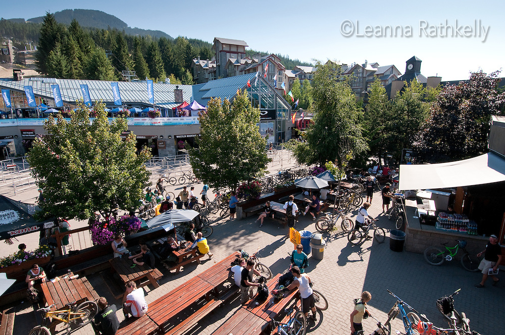 Mountain bikers enjoy the lift-accessed trails on Whistler Mountain, from the base of the mountain at Whistler Village, in the summer.