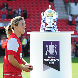 Bristol Academy captain, Corinne Yorston  walks past the FA Cup - Photo mandatory by-line: Joseph Meredith/JMP - Tel: Mobile: 07966 386802 - 26/05/2013 - SPORT - FOOTBALL - Keepmoat Stadium - Doncaster . Arsenal Ladies v Bristol Academy WFC - The FA Women's Cup.