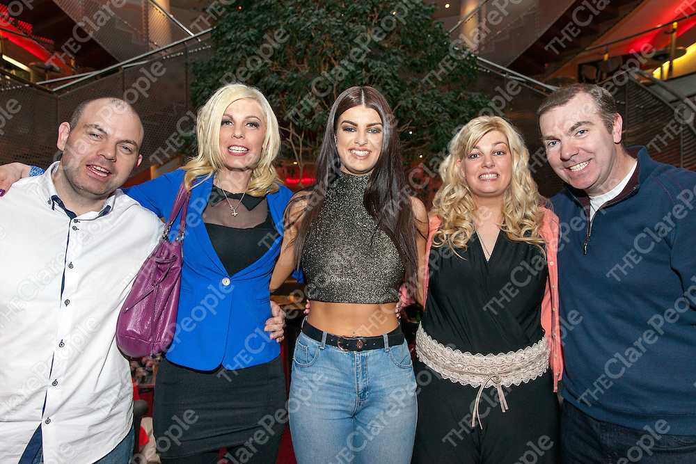 Sarah with her mother Sinead, Uncles Paul and John and Aunt Sharon McTernan celebrating after she got through to the quarter finals in the Voice on Sunday night at the Helix, Dublin