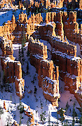 Afternoon light on hoodoos in winter below Bryce Point, Bryce Canyon National Park, Utah