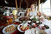 Jimbaran Beach. A typical open-air seafood restaurant.