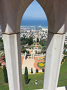 Israel, Haifa. The Bahai gardens, downtown and the bay of Haifa