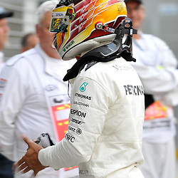 Pole position for Lewis Hamilton, Mercedes AMG Petronas F1 Team.<br /> <br /> Round 1 - 3rd day of the 2017 Formula 1 Rolex Australian Grand Prix at The circuit of Albert Park, Melbourne, Victoria on the 25th March 2017.<br /> Wayne Neal | SportPix.org.uk