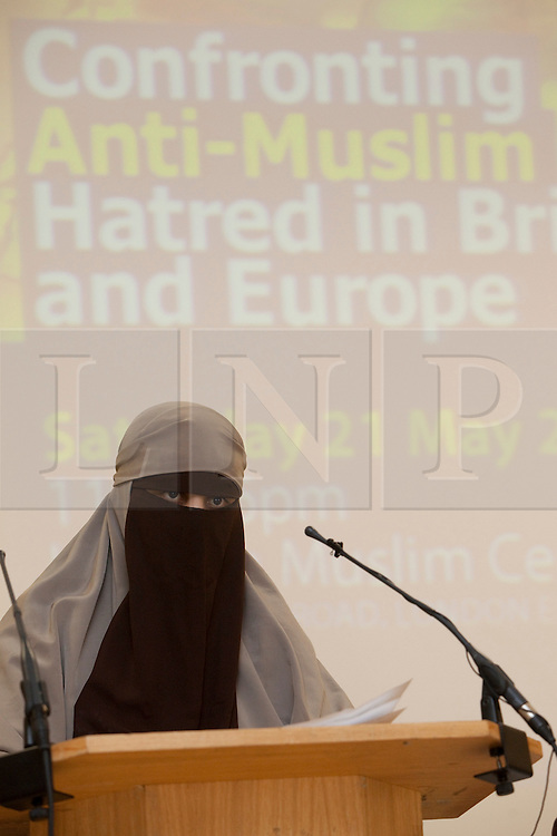 "© under licence to London News Pictures. LONDON, 21/05/2011. Portrait of KENZA DRIDER, the French woman who recently defied the Niqab, full veil, ban in France.  She was arrested by the French Police for refusing to take off her full veil in public. Appearing at conference ""Confronting Anti-Muslim Hatred in Britain and Europe"". London Muslim Centre. Photo credit should read BETTINA STRENSKE/LNP"