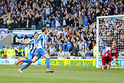 Brighton & Hove Albion centre forward Glenn Murray (17) celebrates his goal 1-0 with Brighton & Hove Albion winger Anthony Knockaert (11) during the EFL Sky Bet Championship match between Brighton and Hove Albion and Wigan Athletic at the American Express Community Stadium, Brighton and Hove, England on 17 April 2017. Photo by Phil Duncan.