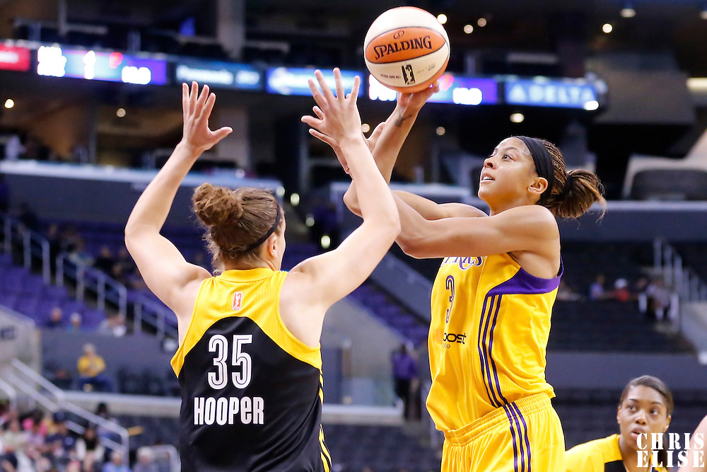 19 June 2014: Los Angeles Sparks forward/center Candace Parker (3) goes for the jumpshot over Tulsa Shock forward Jordan Hooper (35) during the Los Angeles Sparks 87-77 victory over the Tulsa Shock, at the Staples Center, Los Angeles, California, USA.