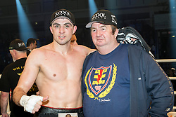 12.03.2016, Jahnsportforum, Neubrandenburg, GER, Boxgala, WBA Weltmeisterschaftskampf, im Bild v.l. Eduard Gutknecht, mit Vater nach dem Kampf // during the WBA Light Heavyweight World Championship Boxgala at the Jahnsportforum in Neubrandenburg, Germany on 2016/03/12. EXPA Pictures © 2016, PhotoCredit: EXPA/ Eibner-Pressefoto/ Koch<br /> <br /> *****ATTENTION - OUT of GER*****