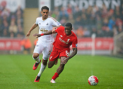 SWANSEA, WALES - Sunday, May 1, 2016: Liverpool's Sheyi Ojo in action against Swansea City during the Premier League match at the Liberty Stadium. (Pic by David Rawcliffe/Propaganda)