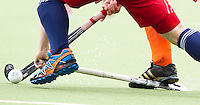 AERDENHOUT - 07-04-2012 - Niek Merkus, zaterdag tijdens de wedstrijd tussen Nederland Jongens A en Engeland Jongens A (3-4), tijdens het Volvo 4-Nations Tournament op de velden van Rood-Wit in Aerdenhout.