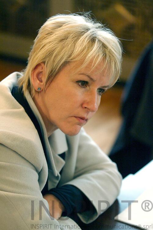 BRUSSELS - BELGIUM - 20 OCTOBER 2003 -- Margot Wahlstroem (Wahlström, Wahlstrom) EU-Commisioner for Enviroment during an interview.  PHOTO: ERIK LUNTANG / INSPIRIT