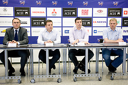 General manager of ACH Volley Rasto Oderlap with New head coach of ACH Volley Igor Kolakovic and his assistant Dragan Kobiljski and Ales Jerala of ACH Volley at  press conference, on May 26, 2010 in ACH, Ljubljana, Slovenia. (Photo by Vid Ponikvar / Sportida)