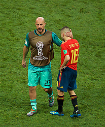MOSCOW, RUSSIA - Sunday, July 1, 2018: Spain's unused substitute goalkeeper Pepe Reina looks dejected as his side lose a penalty shoot-out 4-3 to Russia, after a 1-1 draw, during the FIFA World Cup Russia 2018 Round of 16 match between Spain and Russia at the Luzhniki Stadium. (Pic by David Rawcliffe/Propaganda)