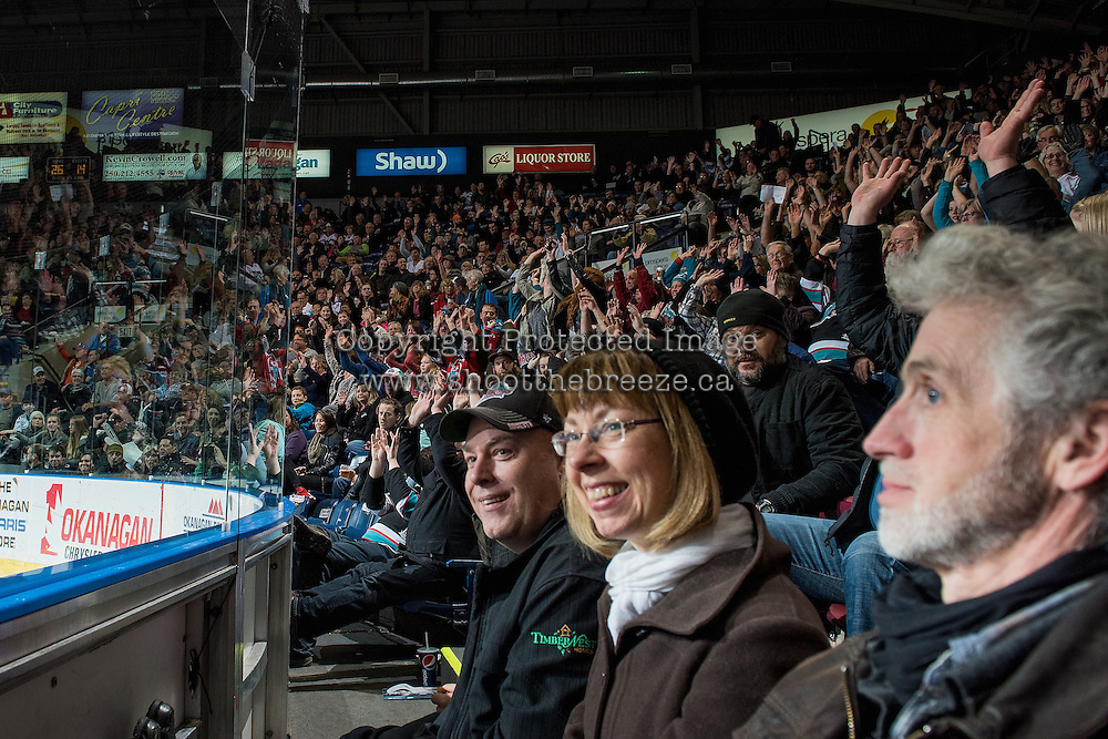 KELOWNA, CANADA - JANUARY 29: Fans celebrate a goal against the Portland Winterhawks on January 29, 2016 at Prospera Place in Kelowna, British Columbia, Canada.  (Photo by Marissa Baecker/Shoot the Breeze)  *** Local Caption *** fans