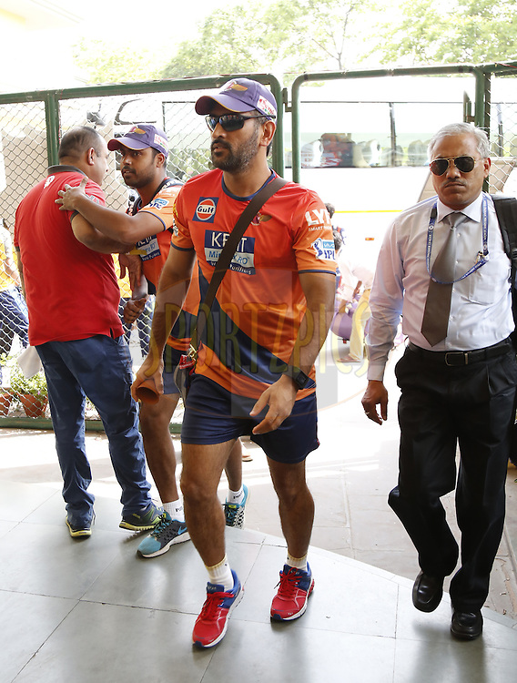 Rising Pune Supergiants captain MS Dhoni arrives before  during match 10 of the Vivo Indian Premier League ( IPL ) 2016 between the Kings XI Punjab and the Rising Pune Supergiants held at the IS Bindra Stadium, Mohali, India on the 17th April 2016<br /> <br /> Photo by Arjun Singh / IPL/ SPORTZPICS