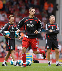 Liverpool, England - Saturday, September 1, 2007: Liverpool's Daniel Agger with fitness coach Paco De Miguel (L) and first team coach Alex Miller before the Premiership match against Derby County at Anfield. (Photo by David Rawcliffe/Propaganda)