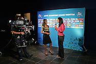 Kass Naidoo is interviewed by Crystal Arnold during the CLT20 live broadcast party held at the Supersport Studios in Johannesburg on the 8 September held as part of the build up to the Champions League T20 tournament being held in South Africa between the 10th and 26th September 2010..Photo by: Ron Gaunt/SPORTZPICS/CLT20