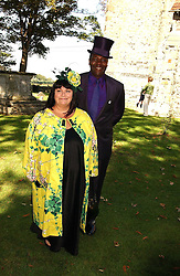 LENNY HENRY and DAWN FRENCH  at the wedding of musician Jools Holland to Lady Crystabel Durham held at Cooling Village Church, Cooling, Kent on 30th August 2005.<br /><br />NON EXCLUSIVE - WORLD RIGHTS