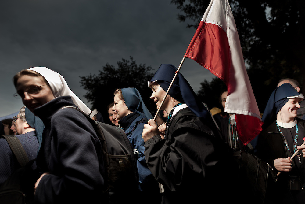 """A group of nuns in the """"Circo Massimo"""". On 1 May 2011, six years and one month after his death, Pope John Paul II was beatified by his successor Benedict XVI..It is estimated that over one half million people have taken part in the ceremony which was held in St. Peter's Square, the largest crowd in Rome since his funeral. .This is considered the fastest beatification in Church history, the Vatican will have to attribute another miracle to John Paul's intercession after the beatification, only in this case he will be declared a saint."""
