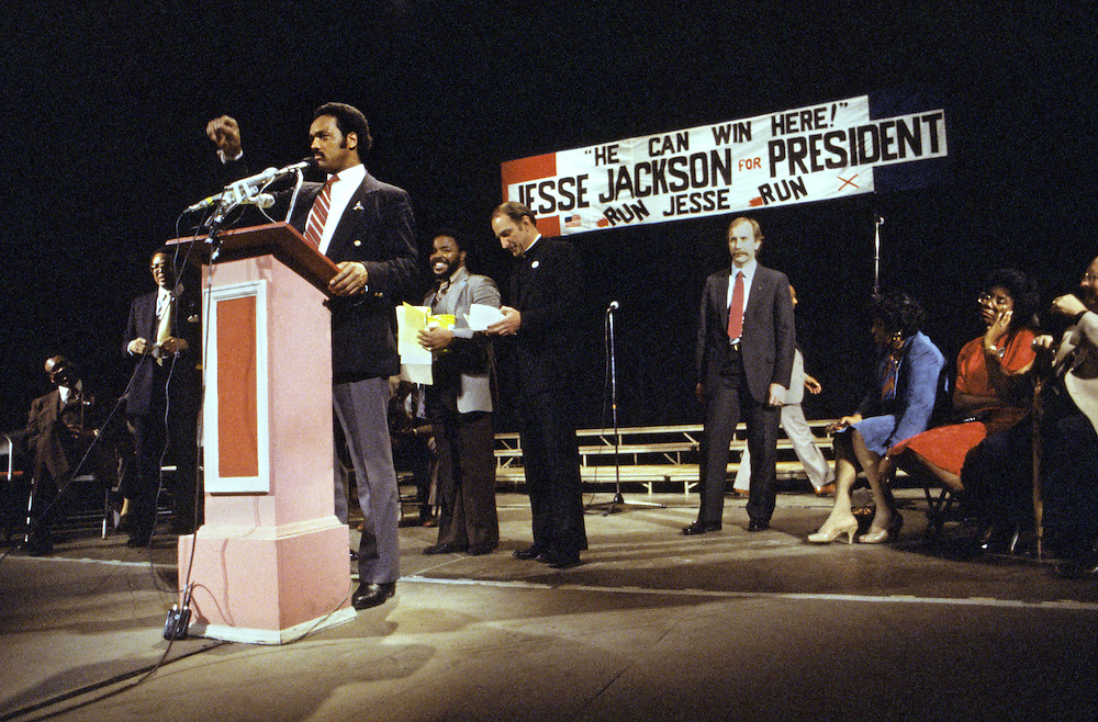 Jesse Jackson campaigns during his 1984 bid for President of the United States. On November 3, 1983, Jackson announced his campaign for President of the United States in the 1984 election,becoming the second African American to mount a nationwide campaign for president.<br /> In the Democratic Party primaries, Jackson, who had been written off by pundits as a fringe candidate with little chance at winning the nomination, surprised many when he took third place behind Senator Gary Hart and former Vice President Walter Mondale, who eventually won the nomination.