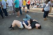 Relaxing at the Kingman Bluegrass Festival.