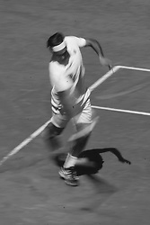 May 9, 2019 - Madrid, Spain - Roger Federer of Switzerland in action against Gael Monfils of France during day six of the Mutua Madrid Open at La Caja Magica on May 09, 2019 in Madrid, Spain  (Credit Image: © Oscar Gonzalez/NurPhoto via ZUMA Press)