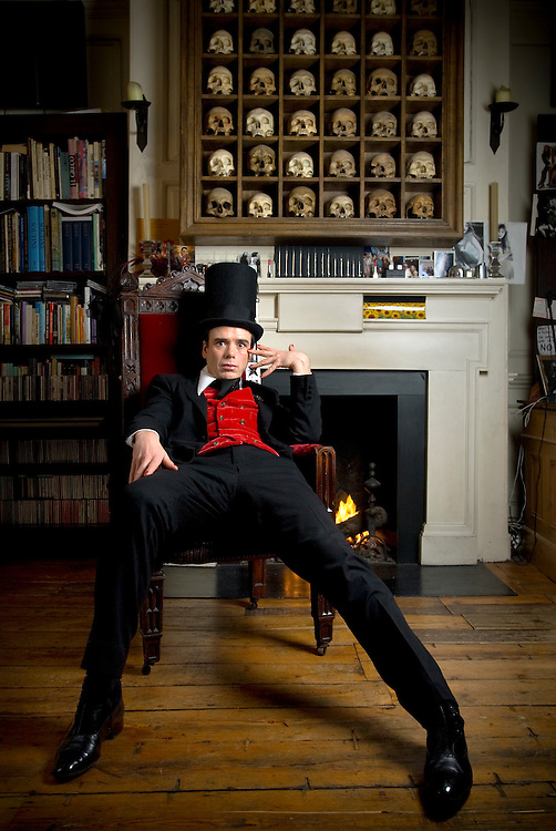 "Immigration officials have denied British author Sebastian Horsley entrance to the United States on the grounds of ""moral turpitude"". The 45-year-old was wearing his flamboyant dandy uniform, complete with top hat. Horsley is author of 'Dandy in the Underworld', an autobiography of drug addiction and sex..Photo shows Sebastian in his home in Soho, London.."
