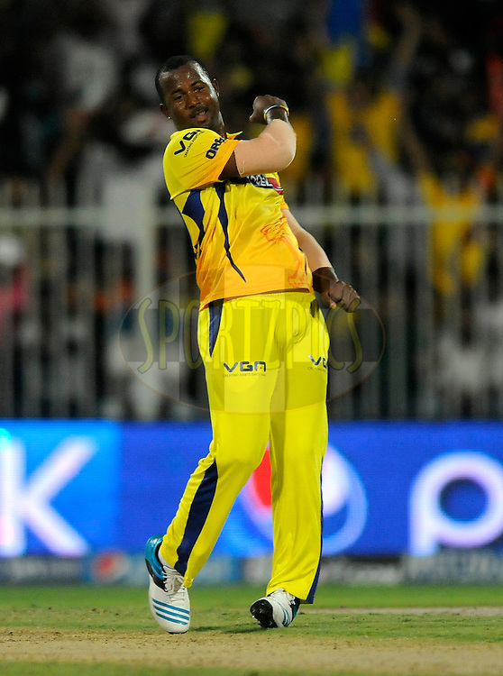 Dwayne Smith of The Chennai Superkings celebrates the wicket of K.L Rahul of the Sunrisers Hyderabad during match 16 of the Pepsi Indian Premier League 2014 between the Delhi Daredevils and the Mumbai Indians held at the Sharjah Cricket Stadium, Sharjah, United Arab Emirates on the 27th April 2014<br /> <br /> Photo by Pal Pillai / IPL / SPORTZPICS