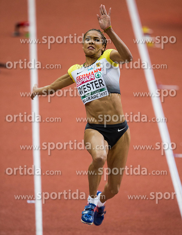 Alexandra Wester of Germany competes in the Long Jump Women Qualification on day two of the 2017 European Athletics Indoor Championships at the Kombank Arena on March 4, 2017 in Belgrade, Serbia. Photo by Vid Ponikvar / Sportida