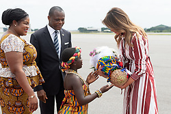 October 2, 2018 - Accra, Ghana, West Africa - First Lady MELANIA TRUMP arrives in Ghana for her first international solo trip. (Credit Image: © Andrea Hanks/White House via ZUMA Wire/ZUMAPRESS.com)