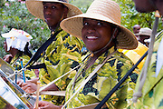 Traditional Steel Drum players preforming during Carnival on St John in the U.S. Virgin Islands.