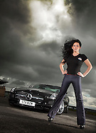 12/05/2011.Scottish Motorshow preview pix at Knockhill with Mercedes SLS and Nissan Leaf..Model - Stephanie...Pic:Andy Barr.07974 923919  (mobile).andy_snap@mac.com.All pictures copyright Andrew Barr Photography. .Please contact before any syndication. .