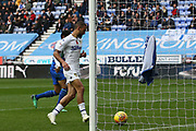 Leeds United midfielder Kemar Roofe (7) scores a goal 1-2  during the EFL Sky Bet Championship match between Wigan Athletic and Leeds United at the DW Stadium, Wigan, England on 4 November 2018.