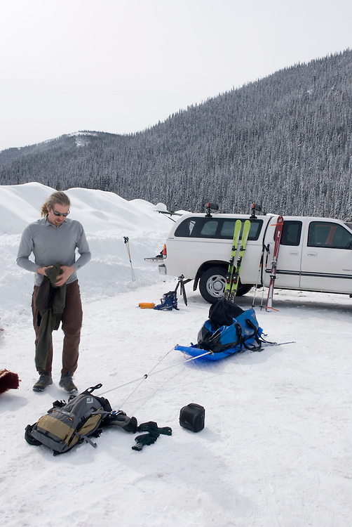 Organizing equipment for multiday backcountry ski trip in Manning Provincvial Park British Columbia Canada