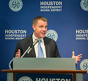 Houston ISD assistant superintendent for professional development Lance Menster comments on effective teacher retention during a news conference, October 30, 2013.