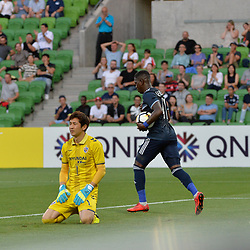 Leroy George of Melbourne Victory FC equalises to 1:1 in the  AFC Champions League, 13 February 2018, Group F, Melbourne Victory FC v Ulsan Hyundai at Melbourne Rectangular Stadium (Aami Park), Australia |© Mark Avellino | SportPix.org.uk