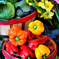 Red, Yellow, Orange Bell Peppers in Basket and Yellow Daffodil in Saint Paul, Minnesota